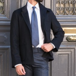 Dark Navy Wool and Cashmere